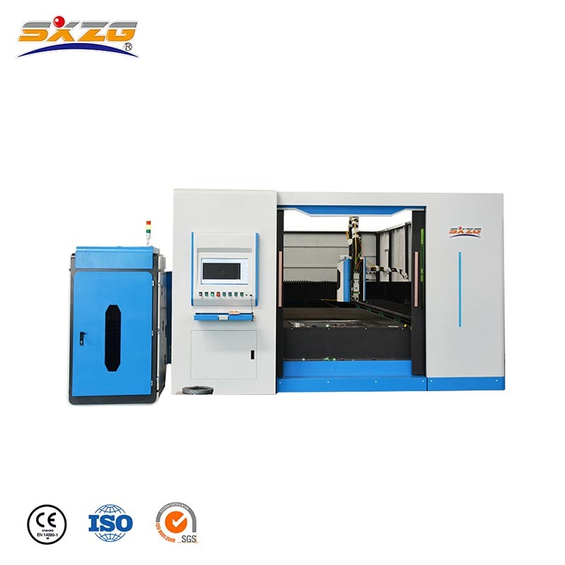 Closed Type Exchange Table Cnc Fiber Steel Laser Cutting Machine 6000W SXZL-3015